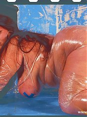 Fat hairy girl rolled into plastic