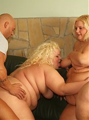 Two blond fatties fucking one lucky guy