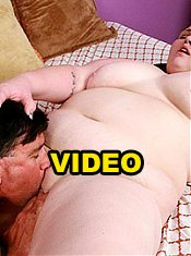 Extra large chick Angie Luv gives a stud a blowjob and gets her fat cunt pleased with his tongue and cock