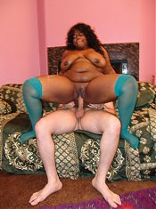 Plump ebony Chanel Diamond playing with her huge fat knockers and gets pussy filling from a white cock