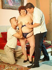 Cock greedy mature BBW Gaborne spreading her fat covered pussy slit in this live threesome sex