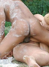 Shameless BBW Amanda and her fuckbuddy get down and dirty and go for a session of outdoor fucking