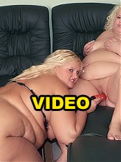 Melinda Shy and Faye are big boobed BBW putting on a nice lesbian show sharing a dildo on webcam